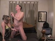Sexy blonde slut cheats on her boyfriend with an older sugar daddy