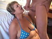 Big tit granny taking a nice facial