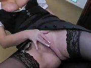 Slutty maid masturbating in her boss's office