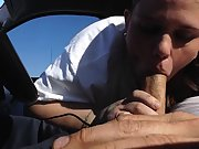 Plump trailer trash wife giving her husband a blowjob in the car and getting CIM