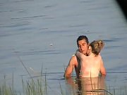 Lake Sex with passionate upright fucking videotaped by a stranger